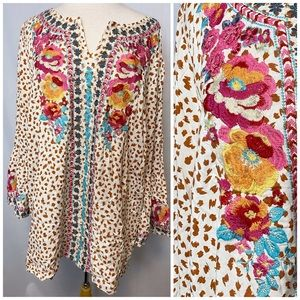 Savanna Jane Beige Multicolor Floral Tunic Top 2X.